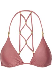 Vix Swimwear Lucy Macrame Effect Triangle Bikini Top Antique Rose