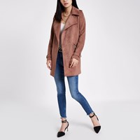 River Island Pink Faux Suede Longline Trench Coat