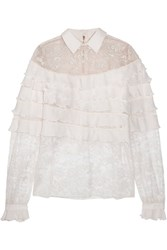 Elie Saab Ruffled Georgette And Lace Blouse Off White