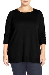 Plus Size Women's Eileen Fisher Ballet Neck Boxy Merino Jersey Sweater Black