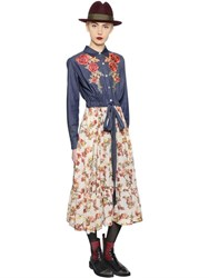 Antonio Marras Floral Embroidered Denim And Crepe Dress