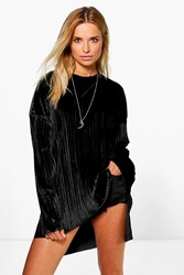Boohoo Boutique Pleated Velvet Dip Back Tunic Top Black