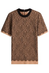 Michael Kors Collection Cashmere Top With Lace Beige