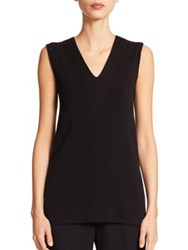 Akris Architecture Collection Sleeveless V Neck Wool Shell Black