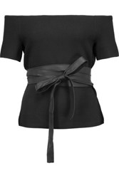 Noir Sachin And Babi Faux Leather Trimmed Off The Shoulder Stretch Knit Top Black