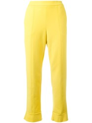 Msgm Cropped Pants Yellow Orange