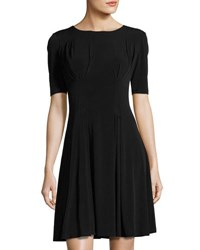 Catherine Malandrino Pleated Fit And Flare Dress Black
