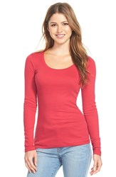 Petite Women's Caslon 'Melody' Long Sleeve Scoop Neck Tee Red Beauty