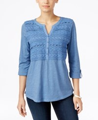 Styleandco. Style Co. Crochet Detail 3 4 Sleeve Top Only At Macy's Cold Sea