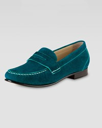 Cole Haan Monroe Suede Penny Loafer Teal Blue