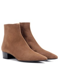 The Row Ambra Suede Ankle Boots Brown
