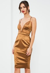 Missguided Brown Silky Plunge Lace Up Back Midi Dress