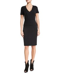 Burberry Short Sleeve Pleated Sheath Dress Black