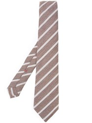 Isaia Striped Tie Brown
