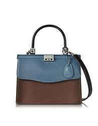 Rodo Black Blue And Chocolate Nappa Leather Top Handle Paris Bag Dark Brown