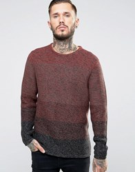 Only And Sons Ombre Knitted Jumper Burgundy Red