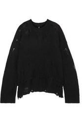 R 13 R13 Oversized Distressed Cashmere Sweater Black