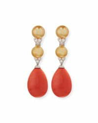 Picchiotti 18K White Gold Coral And South Sea Pearl Earrings With Diamonds
