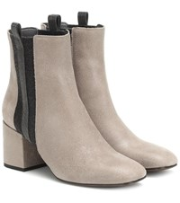 Brunello Cucinelli Embellished Suede Ankle Boots Grey
