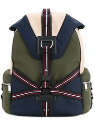 Christian Dior Homme Three Tone Canvas Backpack With Straps Men Cotton Neoprene One Size Green