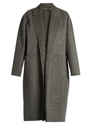 Rochas Herringbone Notch Lapel Double Faced Wool Coat Grey