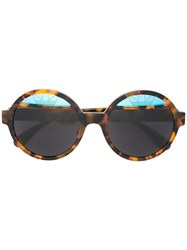 Italia Independent Round Framed Sunglasses Brown