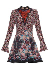 Mary Katrantzou Holbert Cosmo Rose Print A Line Dress Pink Multi