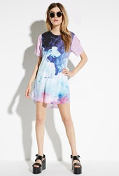 Forever 21 Rise Of Dawn Electric Cloud T Shirt Dress Purple Blue