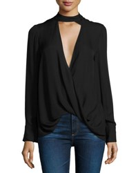 Derek Lam Long Sleeve Draped Silk Charmeuse Blouse Black