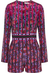 Mary Katrantzou Poppies Printed Silk Crepe Playsuit Fuchsia Purple