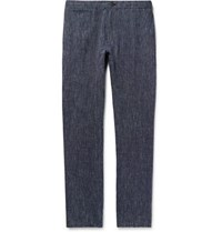 Club Monaco Navy Slim Fit Striped Linen Trousers Navy