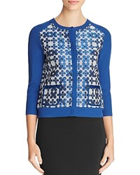 Finity Floral Jacquard Cardigan Floral Solid Blue Combo