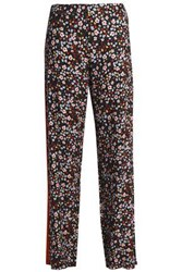 Mother Of Pearl Floral Print Twill Wide Leg Pants Midnight Blue