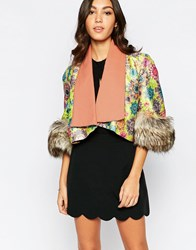 Traffic People Mia Jacket With Faux Fur Cuffs Green