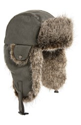 Crown Cap Waxed Cotton Aviator Hat With Faux Fur Lining Grey
