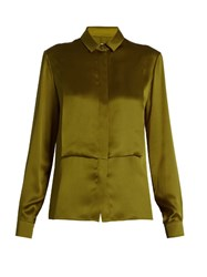 Maison Martin Margiela Long Sleeved Silk Charmeuse Blouse Khaki