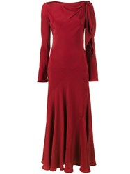 Olivier Theyskens Full Length Dress With Cut Out Detailing Women Silk 36 Red