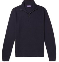 Ralph Lauren Purple Label Waffle Knit Merino Wool And Cashmere Blend Half Zip Sweater Navy