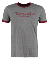Teddy Smith Print Tshirt Gris Chine Moyen Deep Red Mottled Grey