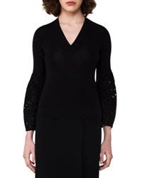 Akris Lace Bell Sleeve Top Black