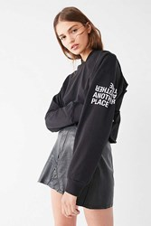 Truly Madly Deeply Another Time Cropped Hoodie Sweatshirt Black
