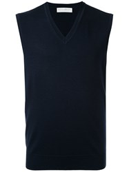 Gieves And Hawkes V Neck Vest Wool Blue
