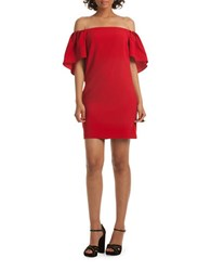 Trina Turk Zeal Solid Off The Shoulder Dress Ruby Rose