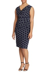 Lauren Ralph Lauren Plus Size Women's Dot Print Sheath Dress Lighthouse Navy Cream