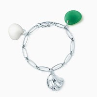 Tiffany And Co. Elsa Peretti Cat Island Wave Shell Charm Bracelet In Silver With Carved Stones. Sterling Silver Chalcedony Agate