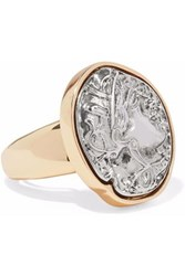 Kenneth Jay Lane Embossed Silver Tone And Gold Tone Ring Silver