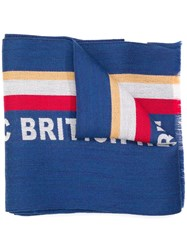 Kent And Curwen Knitted Slogan Scarf Blue