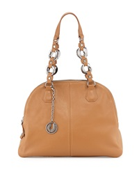 Charles Jourdan Flora Pebbled Leather Satchel Tan