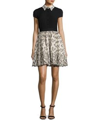 Alice Olivia Dolly Butterfly Pouf Party Dress Black Neutral Multi