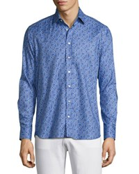 Etro Paisley Dot Print Sport Shirt Light Blue